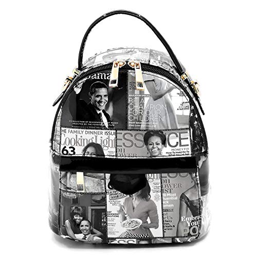 Glossy magazine cover collage fashion backpack Michelle Obama crossbody backpack (A71-Grey) ()