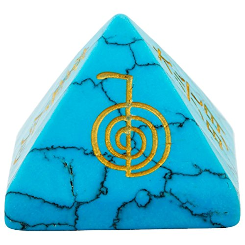 rockcloud Healing Crystal Blue Howlite Turquoise Orgone Chakra Pyramid Metaphysical Stone Figurine (Agate Blue Turquoise)