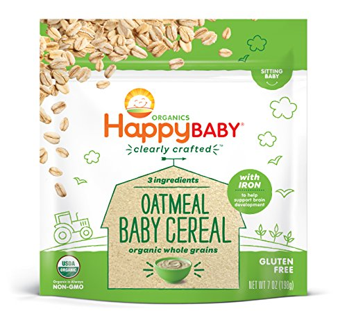 Happy Baby, Clearly Crafted Cereal, Organic Whole Grain Oatmeal, 7 Ounce, Organic Baby Cereal in a Resealable Pouch, with Iron to Support Baby's Brain Development, a Great First Food