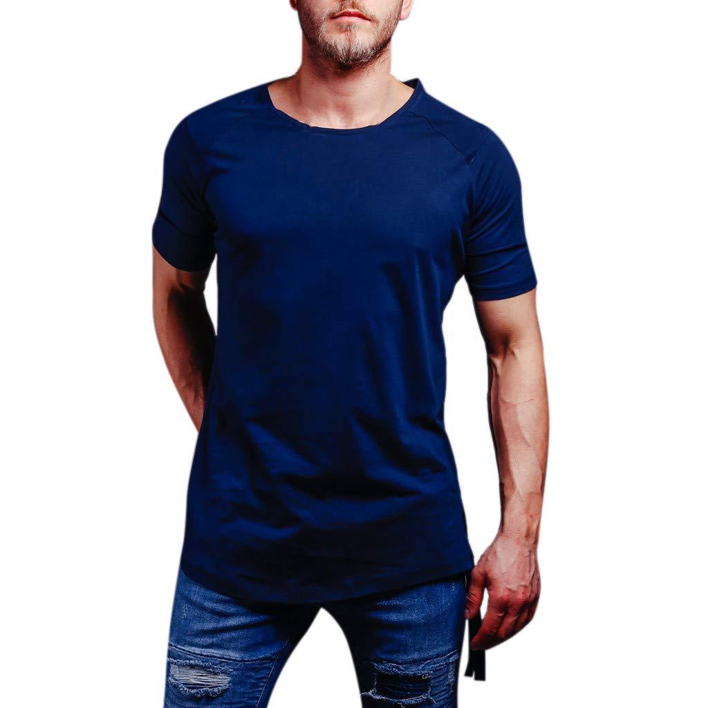 Giulot Men's Big & Tall Shrink-Less Lightweight Pocket Crewneck Tee Classic Ultra Cotton Adult Short-Sleeve T-Shirt Dark Blue