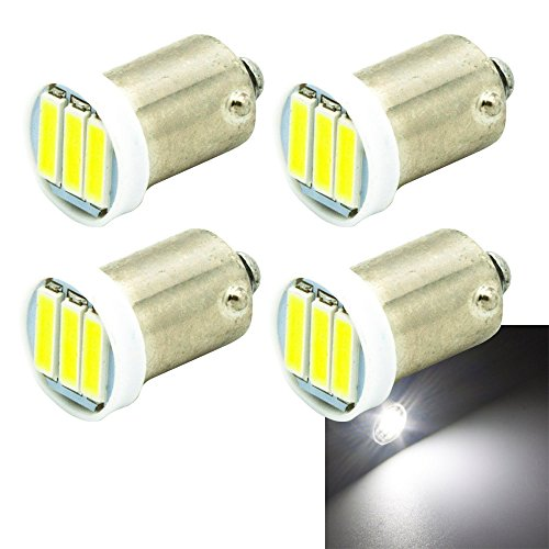 BA9 BA9S 53 57 1895 64111 LED Bulbs,3-7020 SMD LED, White Lights Extremely Bright Light Bulbs(Pack of 4) (Ba9s Led)