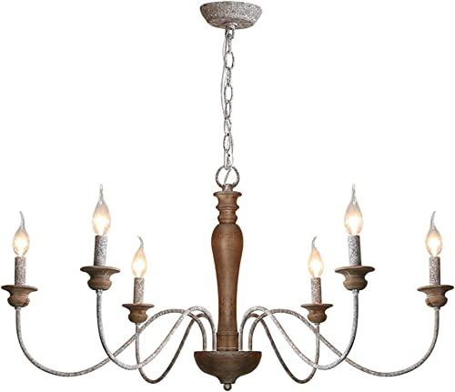 6-Light Wood Rustic Industrial Iron Retro Wooden Chandelier Light Fixture Rustic Pendant Lighting for Kitchen Island, Dining Room, Living Room