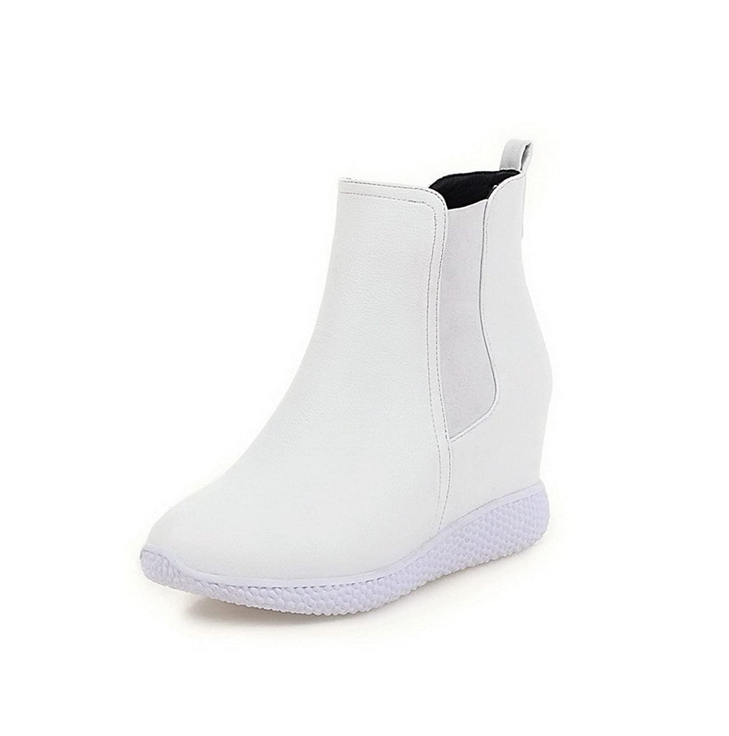 VogueZone009 Women's PU Low-top Solid Pull-on High-Heels Boots