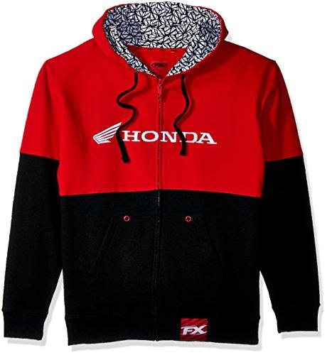 Factory Effex 15-88360 Honda' Double Hooded Zip-up Sweatshirt (Black/Red, Medium) (1998 Honda Civic Ex Exhaust System Diagram)