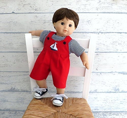 Boy Doll Clothes Sailboat Overall Shorts with Striped Tee Shirt Outfit, fits dolls such as Bitty Baby, Bitty Twin