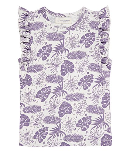 - Little Girls' Organic Cotton Short Butterfly Sleeves Tee, Palm Leaves (2-3 years)