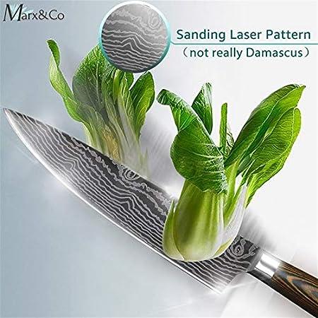 SDFY Cuchillos de Cocina de 8 Pulgadas Chef japonés 7Cr17 440C Gyuto Acero Inoxidable de Damasco Dibujo de Carnicero máquina de Cortar Santoku Juego de moldes Afilado (Color : 8inch Chef Knife)