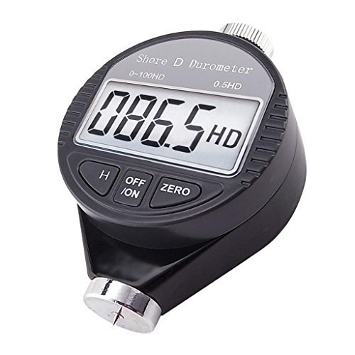 Portable 0-100HD Shore D Hardness Tester Meter Digital Durometer Scale for Rubber, Tire, Plastic, Thermal Plastic, Flooring, Bowling balll with Large LCD ()