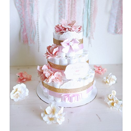 3 Tier - Baby Girl Gold & Coral Pink Diaper Cake / Baby Shower Centerpiece / welcome baby / flower Elegant princess / for gift / tulle / decoration ()