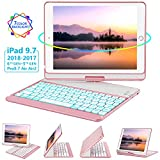 iPad Keyboard Case 9.7 for iPad 2018 (6th Gen) - 2017(5th Gen) - iPad Pro 9.7 - Air 2 & 1, 360 Rotate 7 Color Backlit Wireless/BT iPad Case with Keyboard, Auto Sleep Wake, 9.7 inch, Rose Gold
