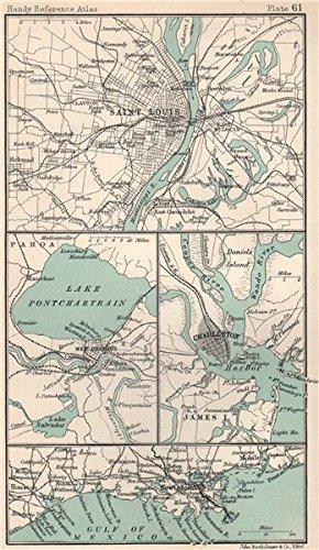 Vintage South Carolina Map.Amazon Com Environs Of Saint Louis Charleston New Orleans South