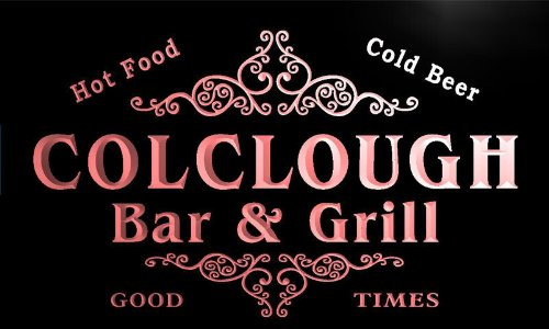 u08630-r COLCLOUGH Family Name Bar & Grill Cold Beer Neon Light Sign