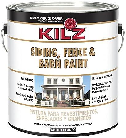 KILZ Exterior Siding, Fence, And Barn Paint, White, 1 Gallon