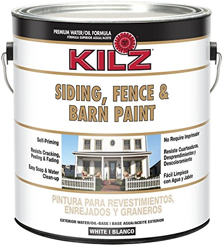 KILZ Exterior Siding, Fence, and Barn Paint, White, 1-gallon