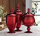 red glass container - Classic Home Glass Red Apothecary Jars, Wedding Candy Buffet Containers (Set of 3)