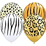 "Safari Animal Print Assorted Qualatex 11"" Latex Balloons x 5"