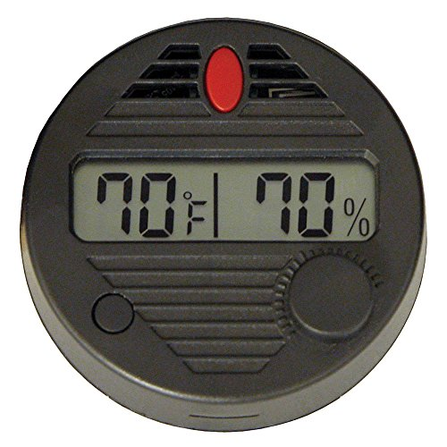 HygroSet II Round Digital Hygrometer for Humidors, 10-Second Refresh Rate, Battery Included, +/- 2% Humidity and 1% Tempeture Accuracy for Cigar Humidors, by Quality Importers (Best Hygrometer For Humidor)