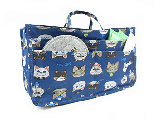 Handbag Organizer, Cute Printed 13 Pockets Purse Insert Organizer Bag with Handles (Cat) (Cat Toy Gift Purse)