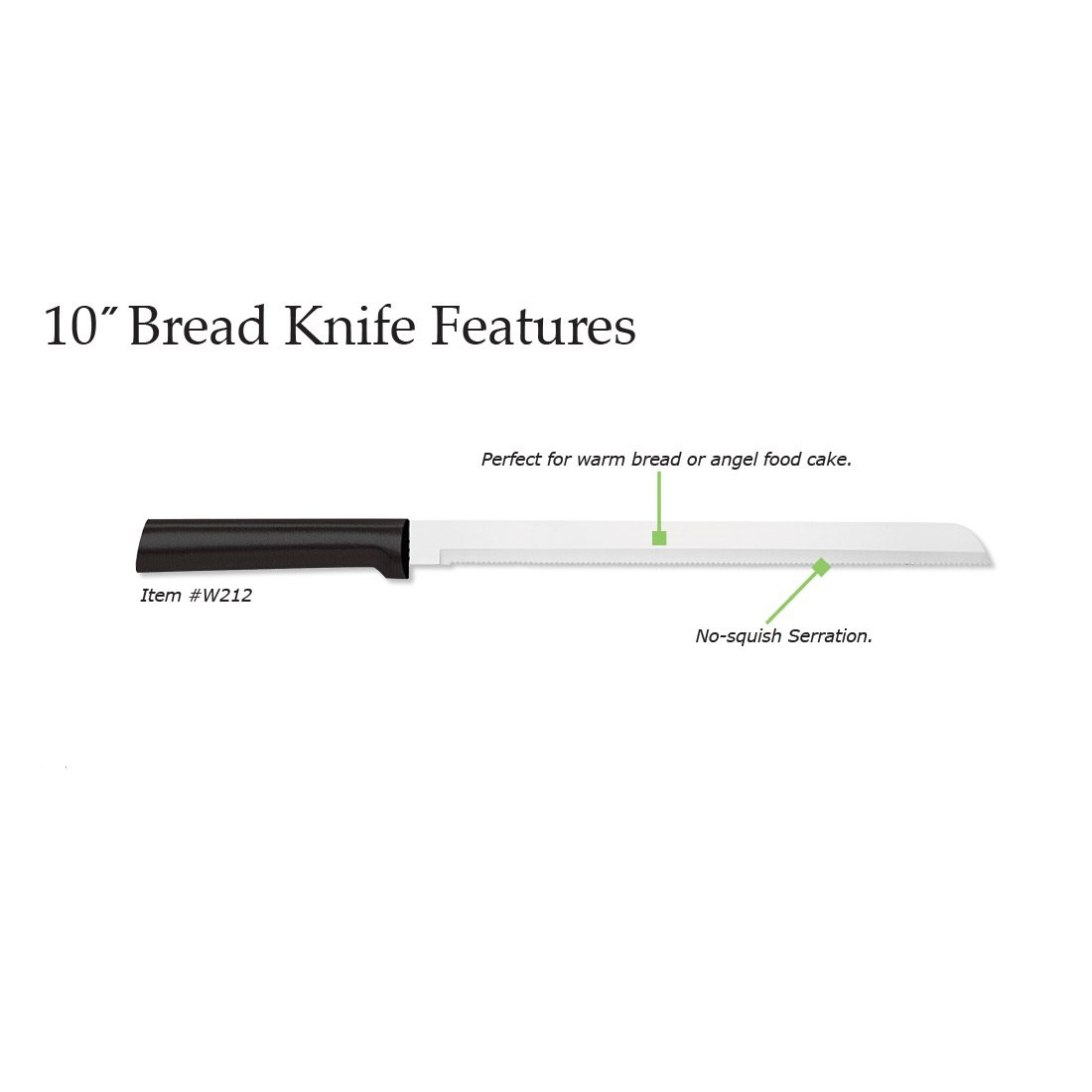 Rada Cutlery 10 Inch Stainless Steel Bread Knife with Black Stainless Steel Resin Handle – Made in USA by Rada Cutlery (Image #2)
