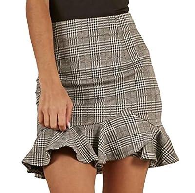 Highisa Womens Bodycon Mini Party Glen Plaid Ruffled Mermaid Skirt