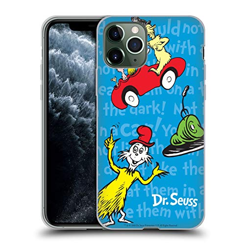 Official Dr. Seuss Text Pattern Green Eggs and Ham Soft Gel Case Compatible for iPhone 11 Pro (Dr Seuss Green Eggs And Ham Text)