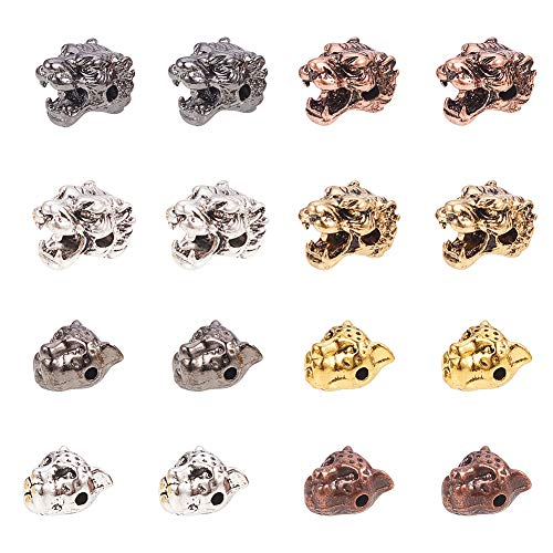PH PandaHall 40 PCS 4 Color Alloy Leopard Tiger Head Beads Connector Charm Beads for Bracelet Necklace Earrings Jewelry Making Crafts