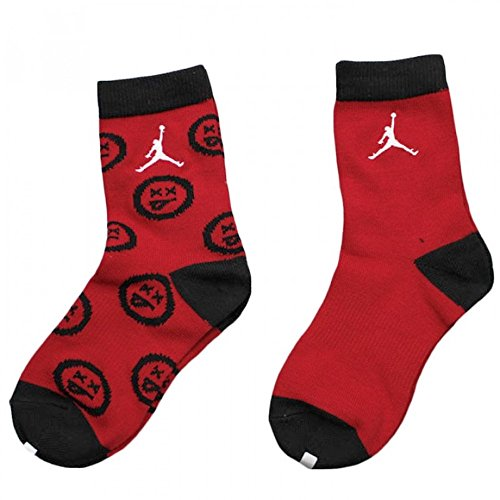 Jordan Kid's Retro 12 Flu Game Edition 2-Pack Crew Socks Large (5Y-7Y) Black Red by Jordan