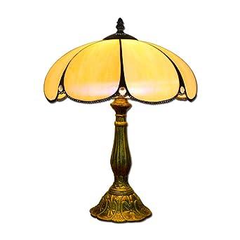 Hobaca® 12 pulgadas de vidrio ámbar Tiffany lujo antiguo lámparas de mesa de noche para el dormitorio sala de estar Art Deco Coffe mesa tradicional de ...