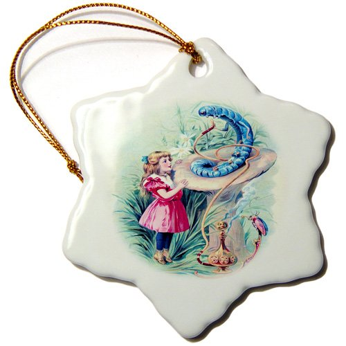 3dRose orn_153723_1 Alice in Wonderland with Caterpillar in Color-Snowflake Ornament, 3-Inch, Porcelain