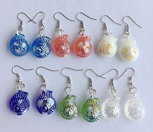 6Pairs conch Lampwork Murano Glass Earrings Jewelry Summer Women Banquet Party