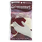 AMMEX 10 Pack Disposable Latex Gloves - Multi-purpose, PowderFree, One Size - Fits Most, White, Case of 250: more info