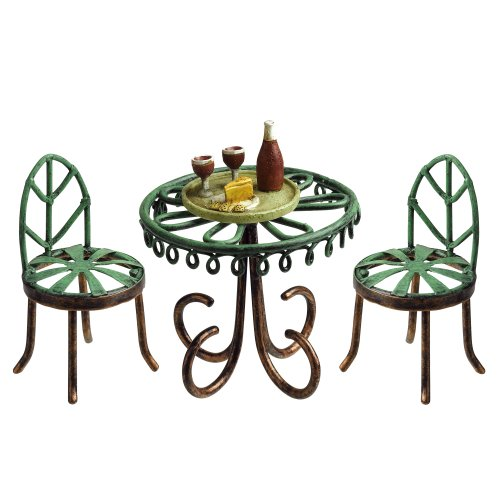 Grasslands Road Miniature Bistro Table, 2 Chairs and Wine Tray, 2-Inch, 2-Pack by Grasslands Road