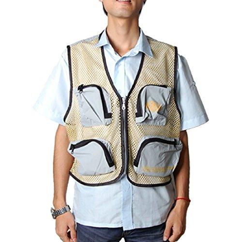 V-Ausschnitt, 4 grau Taschen Perforierte Angeln Vest L für Männer