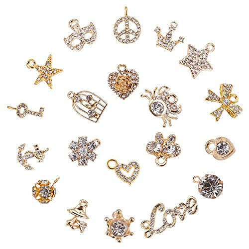 Pendant Rhinestone (PH PandaHall 20pcs Mixed Style Alloy Rhinestone Charms Pendant for DIY Necklace Bracelet Jewelry Making (Star, Moon, Heart, Bowknot, Crown))