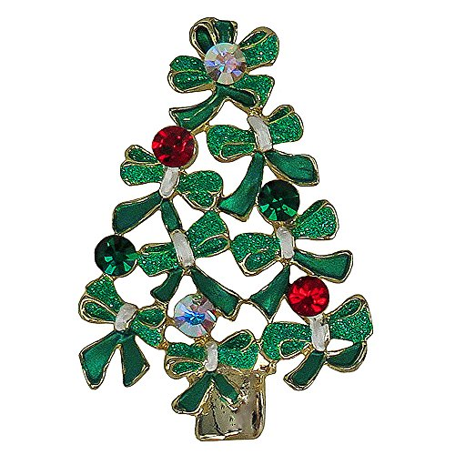 (RUCINNI Christmas Tree Brooch, 20K Gold Plated & Swarovski Crystals)