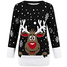 Chirstmas Jumpers Womens Plus Sizes and Normal 3D Nose Raindeer