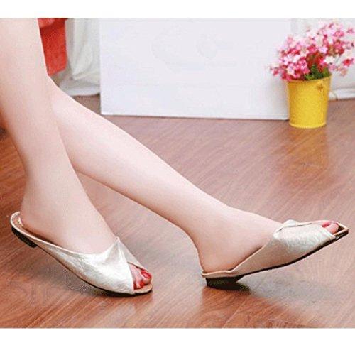 Hunpta Damen Sommer Sandalen Schuhe Peep-Toe Halbschuhe römischen Sandalen Damen Flip Flops Hausschuhe Beige