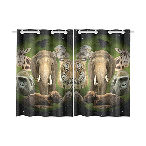 your-fantasia Planet Earth with Animals in the Universe Window Curtain Kitchen Curtain Two Pieces 26 x 39 inches by your-fantasia