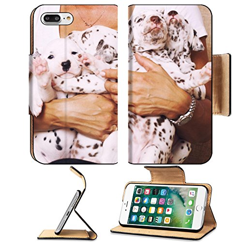 Playful Dalmatian (Luxlady Premium Apple iPhone 7 Plus Flip Pu Leather Wallet Case iPhone7 Plus 34759753 real human hand holding many puppies dalmatian close up cute little dogs)