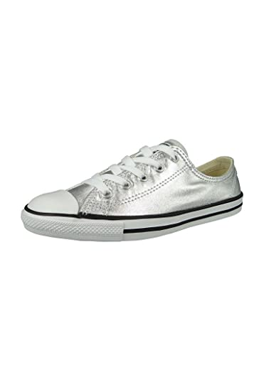 4cf847673ebcb5 CONVERSE WOMENS ALL STAR DAINTY SHOES PURE SILVER BLACK WHITE SIZE 6