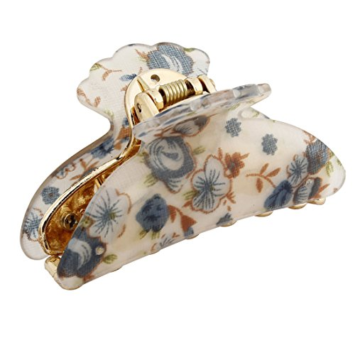 uxcell Woman Dark Blue Florals Pattern Plastic Hair Claw Clip Barrette Clamp 7cm Long