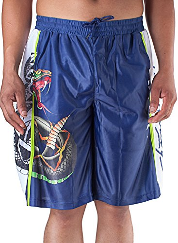 Ed Hardy Mens Snake Sweat Pants Shorts - Blue - Small