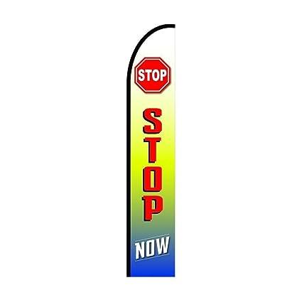 Amazon.com: Stop ahora Cartel plumas bandera, 11,5 pies al ...