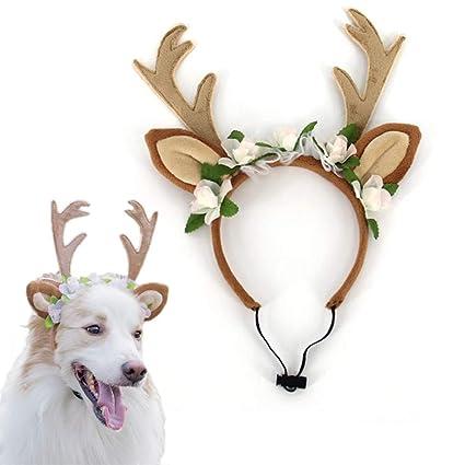NEEDOON Mascotas Diadema de Reno Cuernos Navidad Decoración 1887c482c55