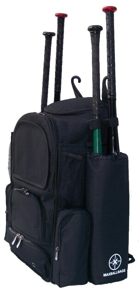 新しいデザインMedium Vista M inソリッドブラックTeenソフトボール野球バット機器バックパックwith Removableバット袖と刺繍パッチ B00HOMGFSI