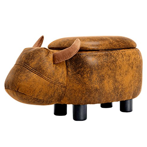GUTEEN Upholstered Ride-on Toy Seat Storage Ottoman Footrest Stool with Vivid Adorable Animal-Like Features(Brown Buffalo) by GUTEEN
