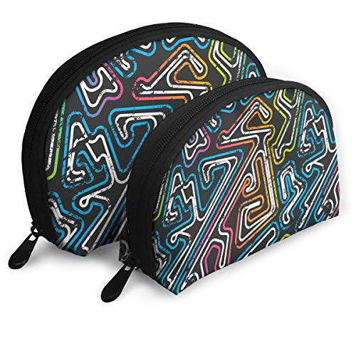Graffiti Maze Womans Portable Cosmetic Bags Clutch Pouch Multifunction Case with Zipper 2Pcs
