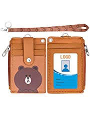 HASFINE Badge Holder with Zipper,Cute Id Badge Holder Wallet Leather Credit Card Holder Zipper Wallet with Lanyard, 2 Sided 5 Card Slots and Key Chain for Boys and Girls,Men and Women, Office Staff