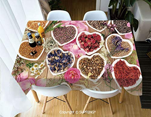 - Picnic Tablecloth Healing Herbs Heart Shaped Bowls Flower Petals on Wooden Planks Print Healthcare Decorative (60 X 104 inch) Great for Buffet Table, Parties, Holiday Dinner, Wedding & More.Desktop d