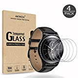 (4-Pack) Gear S2 Tempered Glass Screen Protector, Akwox [0.3mm 2.5D High Definition 9H] Premium Clear Screen Protective Film for Samsung Gear S2 Frontier / Classic Smart Watch 1.2 Inch